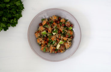 Quinoa, sweet potato, apple salad