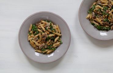 Creamy kale mushroom pasta