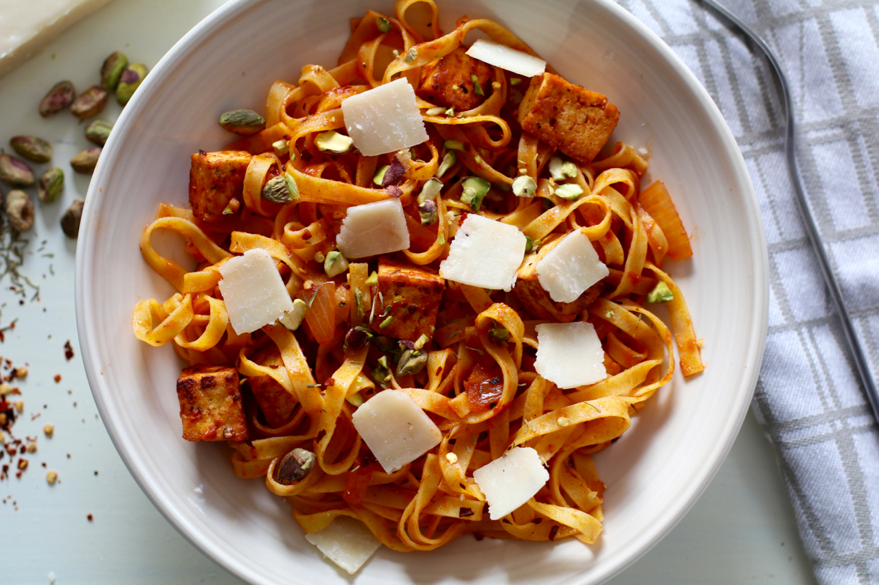 Pasta Arrabbiata with Spicy Tofu