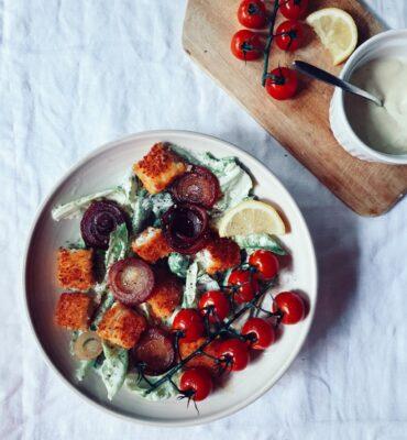 Fish finger caesar salad